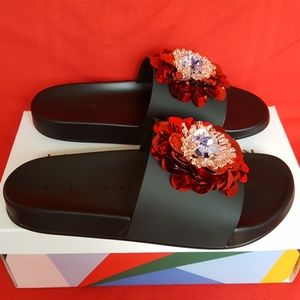 Katy Perry Shoes - BRAND NEW KATY PERRY SEQUIN FLOWER SANDAL SLIDES 8